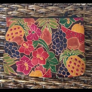 Vintage leather tropical flowers & fruit small bag